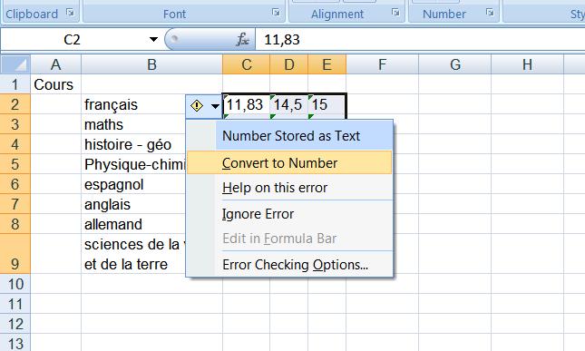 manipulation pour convertir les lettres en nombre dans Excel