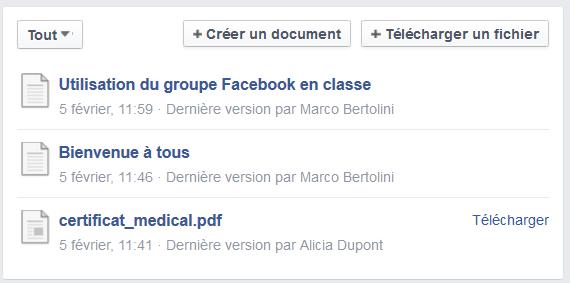 Documents des membres d'un groupe Facebook conservés au même endroit et accessibles à tous