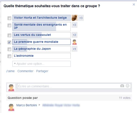 Sondage effectué par question à choix multiple dans un groupe Facebook de classe