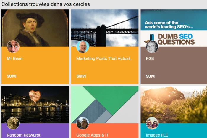 Collections des membres de vos cercles sur le réseau social  Google Plus