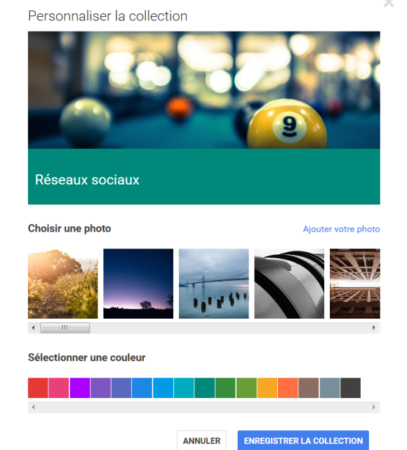Menu Personnaliser dans l'application de curation Collections de Google Plus