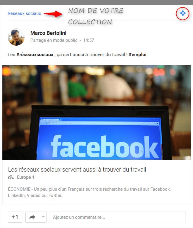 Premier post publié avec l'application de curation Collections du réseau social Google Plus