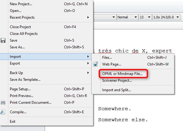 Comment importer une carte mentale ou un fichier opml dans scrivener
