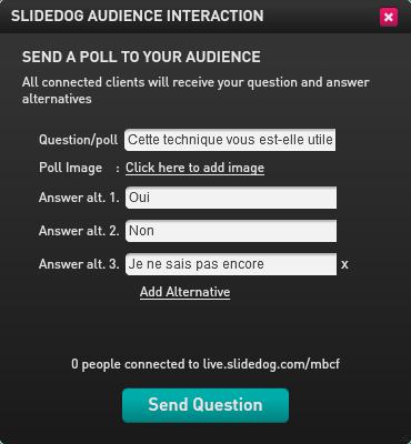 Exemple de sondage sur SlideDog envoyé au public pendant une présentation interactive
