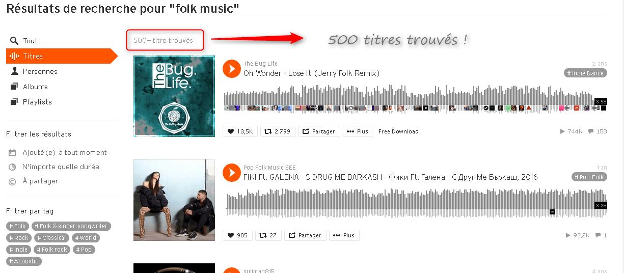 Résultats de recherche de musique libre de droits sur SoundCloud via Creative Commons Search