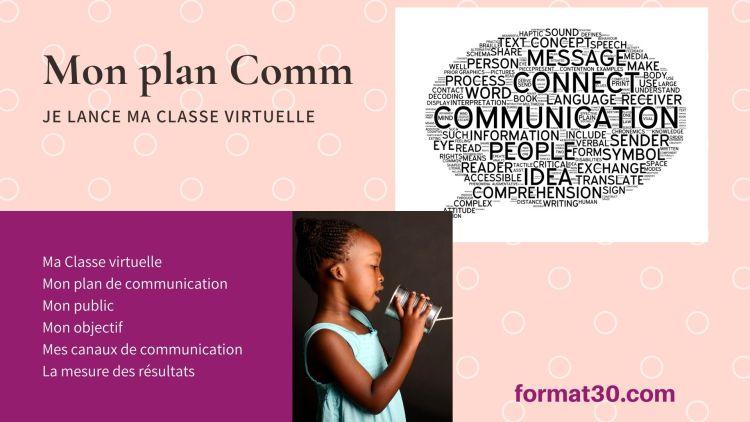 Concevez et animez vos classes virtuelles - plan de communication