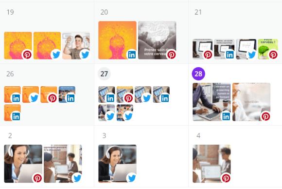 Planificateur de publication Canva : vue de quelques jours de publication sur les réseaux sociaux