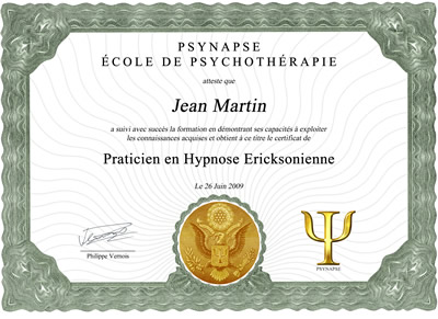 Diplôme Hypnothérapeute Certifié NGH