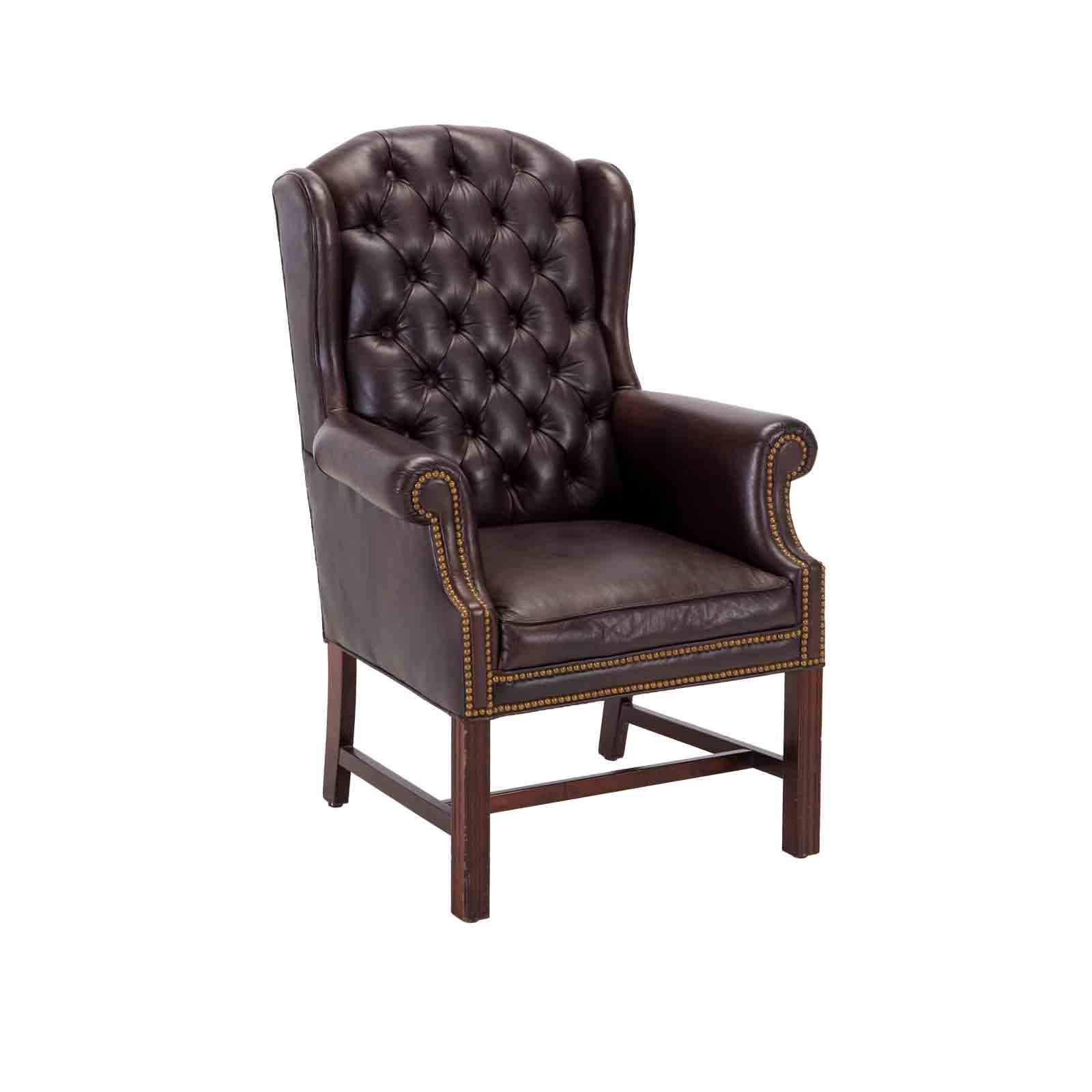 Wingback Tufted Lounge Chair Brown Event Trade Show