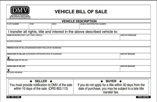 Image result for bill of sale dmv template