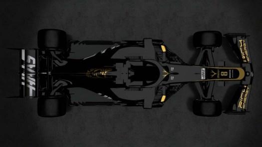 Haas VF19 från ovan