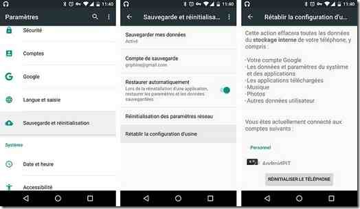 Réinitialiser téléphone android aux paramètres d'usine à partir de menu des paramètres