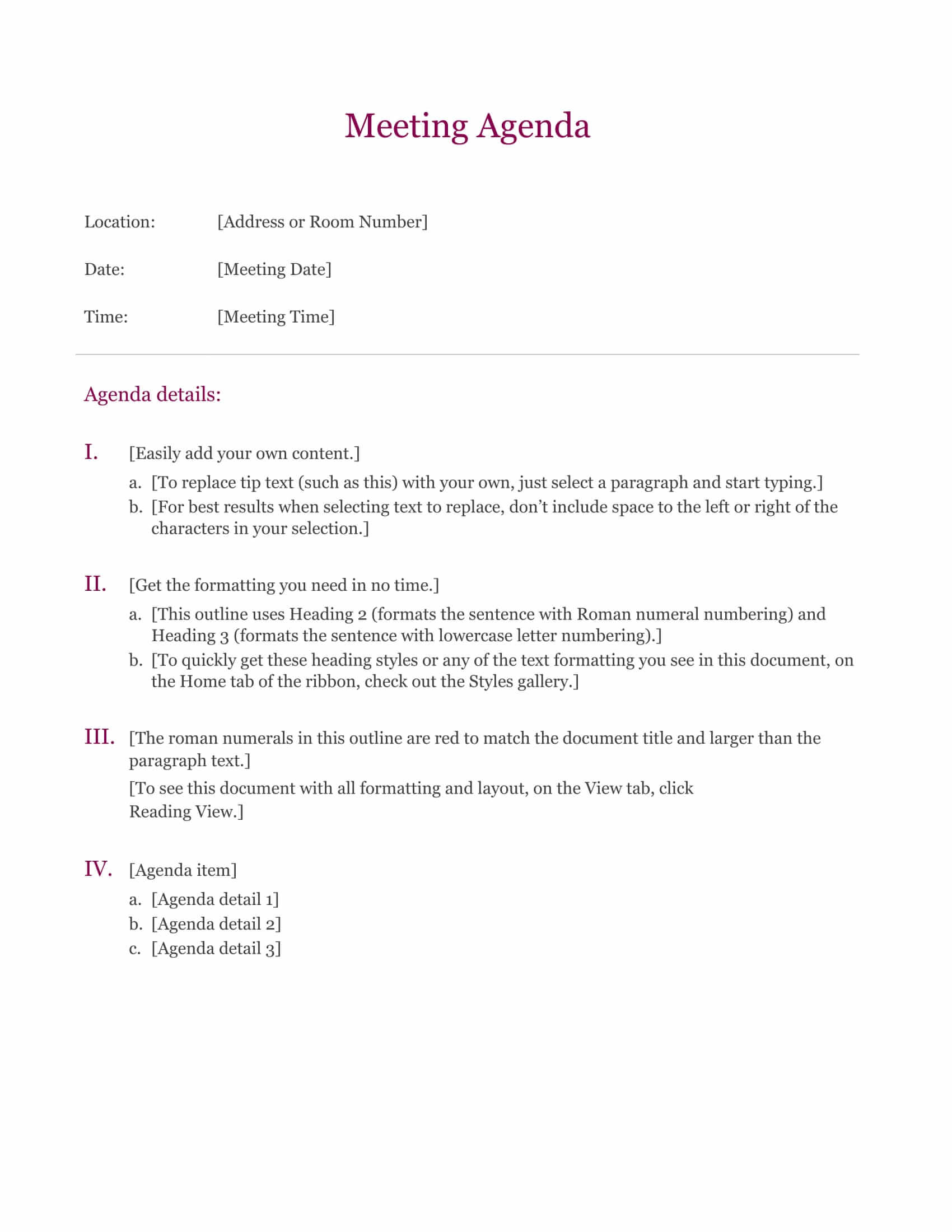 Download A Meeting Agenda Template FormFactory