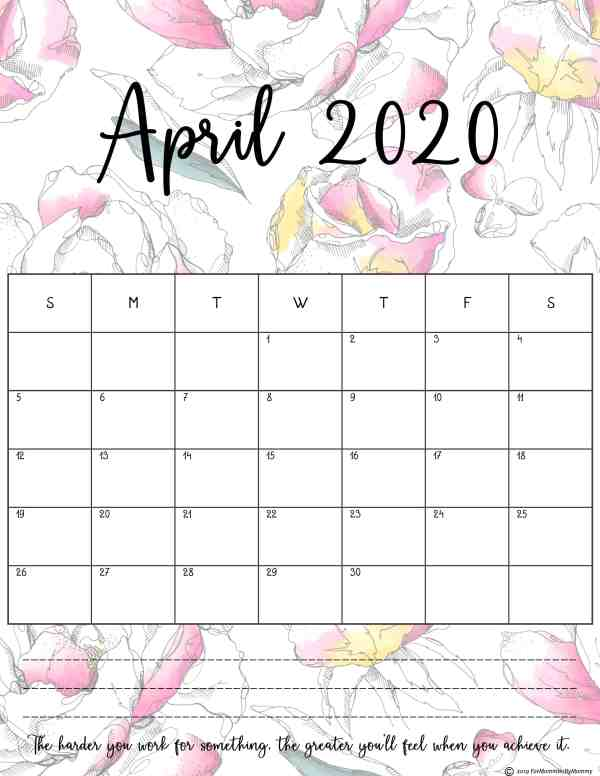 Monthly planner 2020 in floral design for the month of April