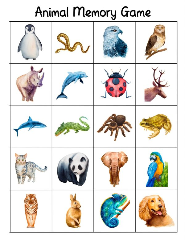 Free Printable Bilingual Animal Matching Cards And Memory Game