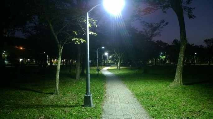 Passage in Da-An Forest Park during night.