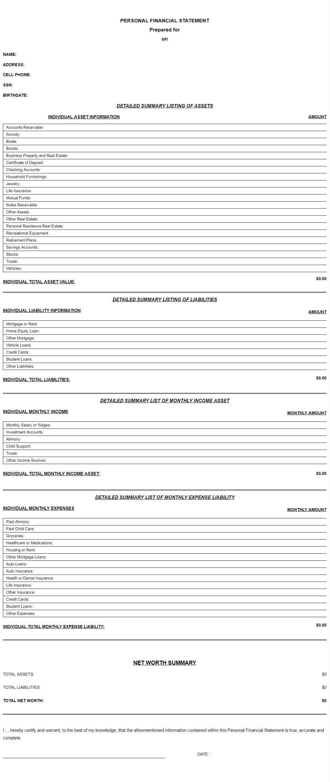 Personal Financial Statement Templates Amp Free Printable