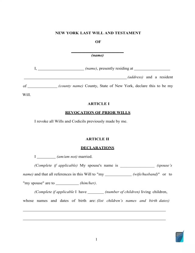 Fillable New York Last Will and Testament Form [FREE]  FormsPal