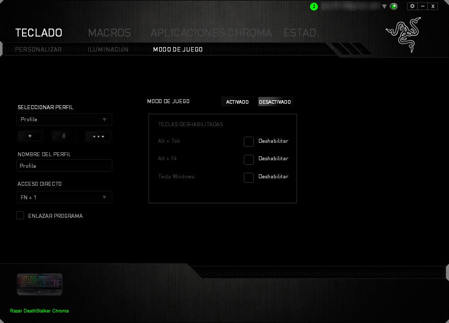 Razer Deathstalker Chroma - Razer Synapse - Modo de juego