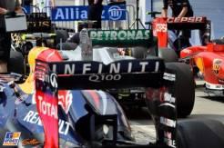 A lot of F1 Cars