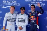The Top Three Qualifiers : Second Place Nico Rosberg, Pole Position Lewis Hamilton and Third Place Daniel Ricciardo