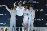 The Podium : Second Place Felippe Massa, Winning Constructor Toto Wolff, Race Winner and 2014 Champion Lewis Hamilton and Third Place Valtteri Bottas