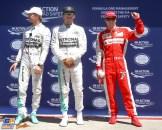 The Top Three Qualifiers : Second Place Nico Rosberg (Mercedes AMG F1 Team), Pole Position Lewis Hamilton (Mercedes AMG F1 Team) and Third Place Kimi Räikkönen (Scuderia Ferrari)
