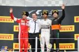The Podium : Second Place Sebastian Vettel (Scuderia Ferrari), Race Winner Lewis Hamilton (Mercedes AMG F1 Team) and Third Place Sergio Pérez (Force India F1 Team)