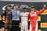 The Podium : Second Place Max Verstappen (Red Bull Racing), Race Winner Lewis Hamilton (Mercedes AMG F1 Team) and Third Place Kimi Räikkönen (Scuderia Ferrari)