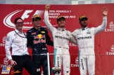 The Podium : Second Place Max Verstappen (Red Bull Racing), Race Winner Nico Rosberg (Mercedes AMG F1 Team) and Lewis Hamilton (Mercedes AMG F1 Team)