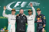 The Podium : Second Place Nico Rosberg (Mercedes AMG F1 Team), Race Winner Lewis Hamilton (Mercedes AMG F1 Team) and Max Verstappen (Red Bull Racing)