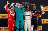 The Podium : Second Place Sebastian Vettel (Scuderia Ferrari, SF70-H), Race Winner Lewis Hamilton (Merdedes AMG F1 Team) and Third Place Daniel Ricciardo (Red Bull Racing)