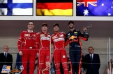 The Podium : Second Place Kimi Räikkönen (Scuderia Ferrari), Race Winner Sebastian Vettel (Scuderia Ferrari) and Third Place Daniel Ricciardo (Red Bull Racing)