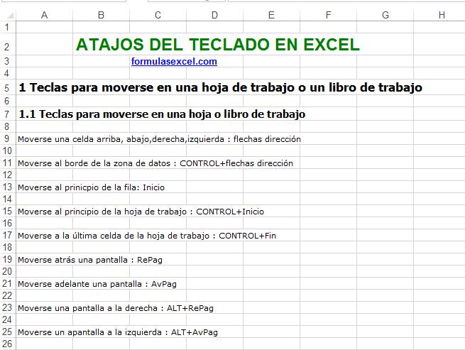 Atajos del teclado en excel – Formulas Excel
