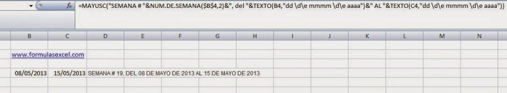 Funcion NUM.DE.SEMANA en Excel