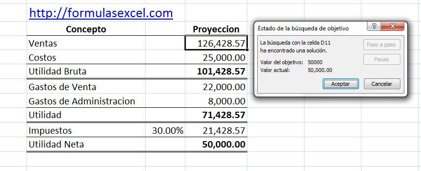 resultado de aplicar buscar objetivo en una tabla para calcular utilidad.