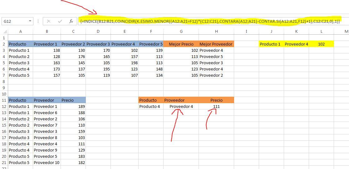 formulas excel para buscar proveedor con mejor precio - formulas opcion2