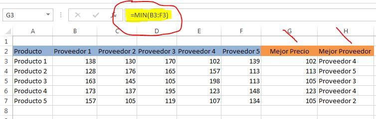 formulas excel para buscar proveedor con mejor precio - mejor prov
