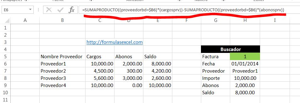 curso excel parte 13 - formula para calcular saldo de proveedores