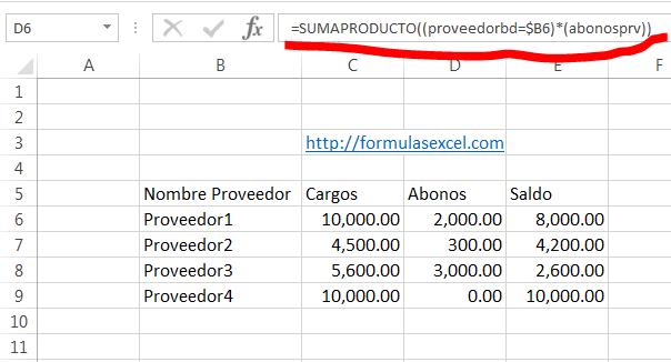 curso excel parte 13 - formula para sumar abonos de proveedores