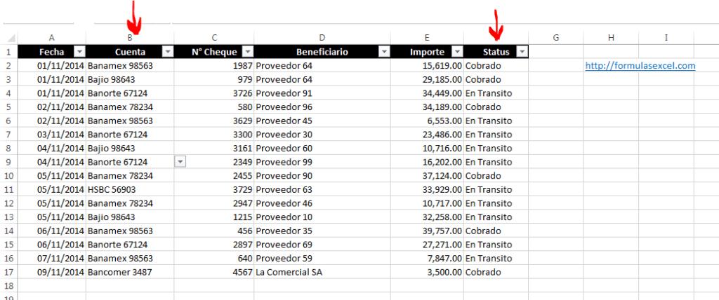 Saldo Disponible de Bancos en Excel