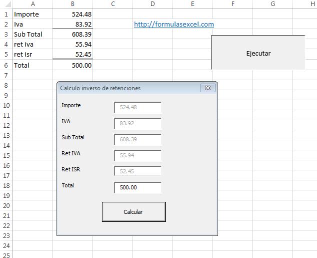 Calculo Inverso de Retenciones en Excel