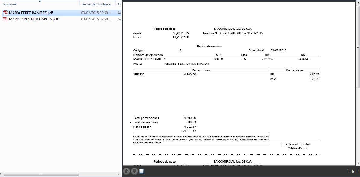 generacion de recibos en PDF