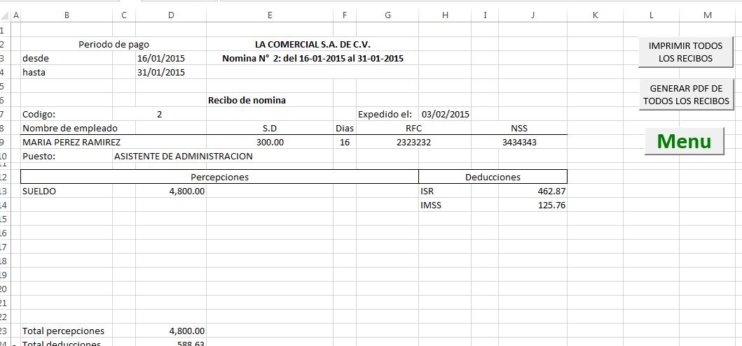 Formatos Recibos Nomina Plantilla Nomina