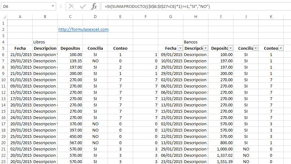 Formulas Excel para Conciliar Bancos – Formulas Excel