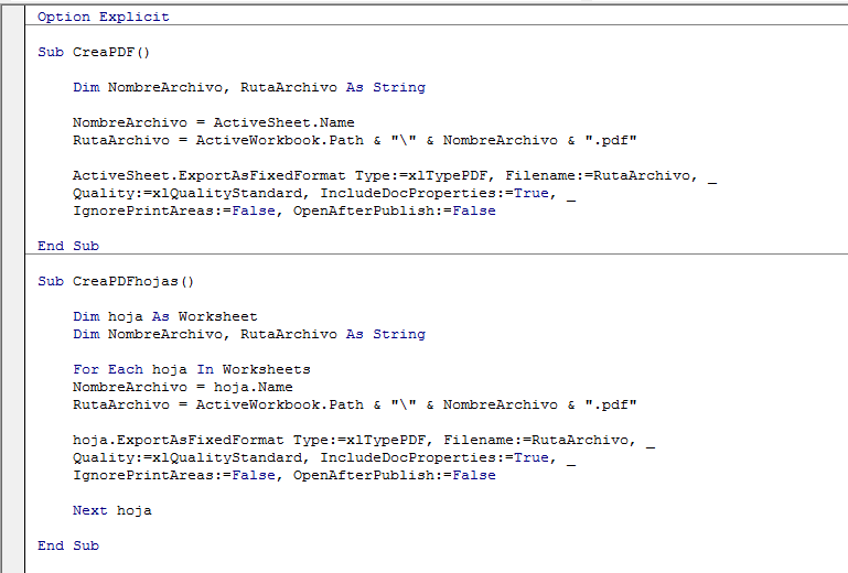 Macro Excel para Crear PDF