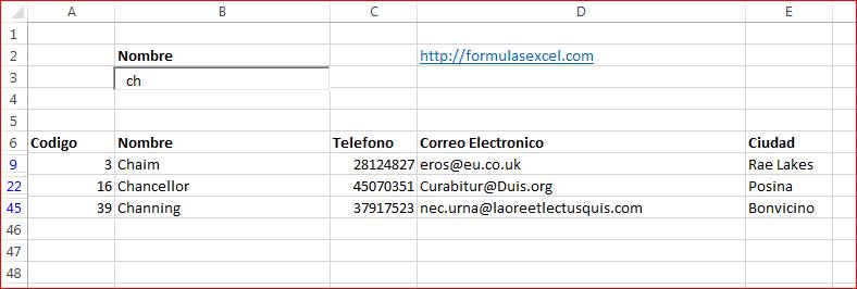 Buscador en Excel