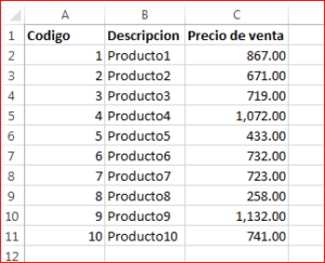 cotizaciones base de datos de productos