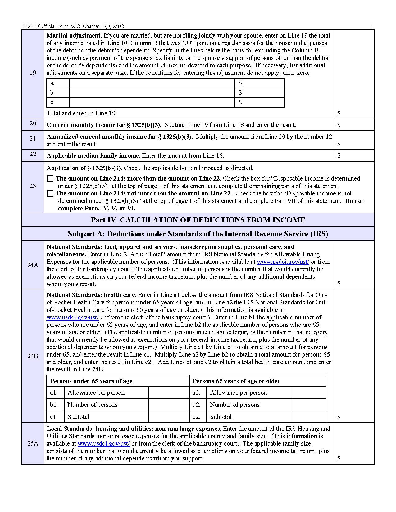 Form B 22c Statement Of Current Monthly Income And Calculation Of Commitment Period And