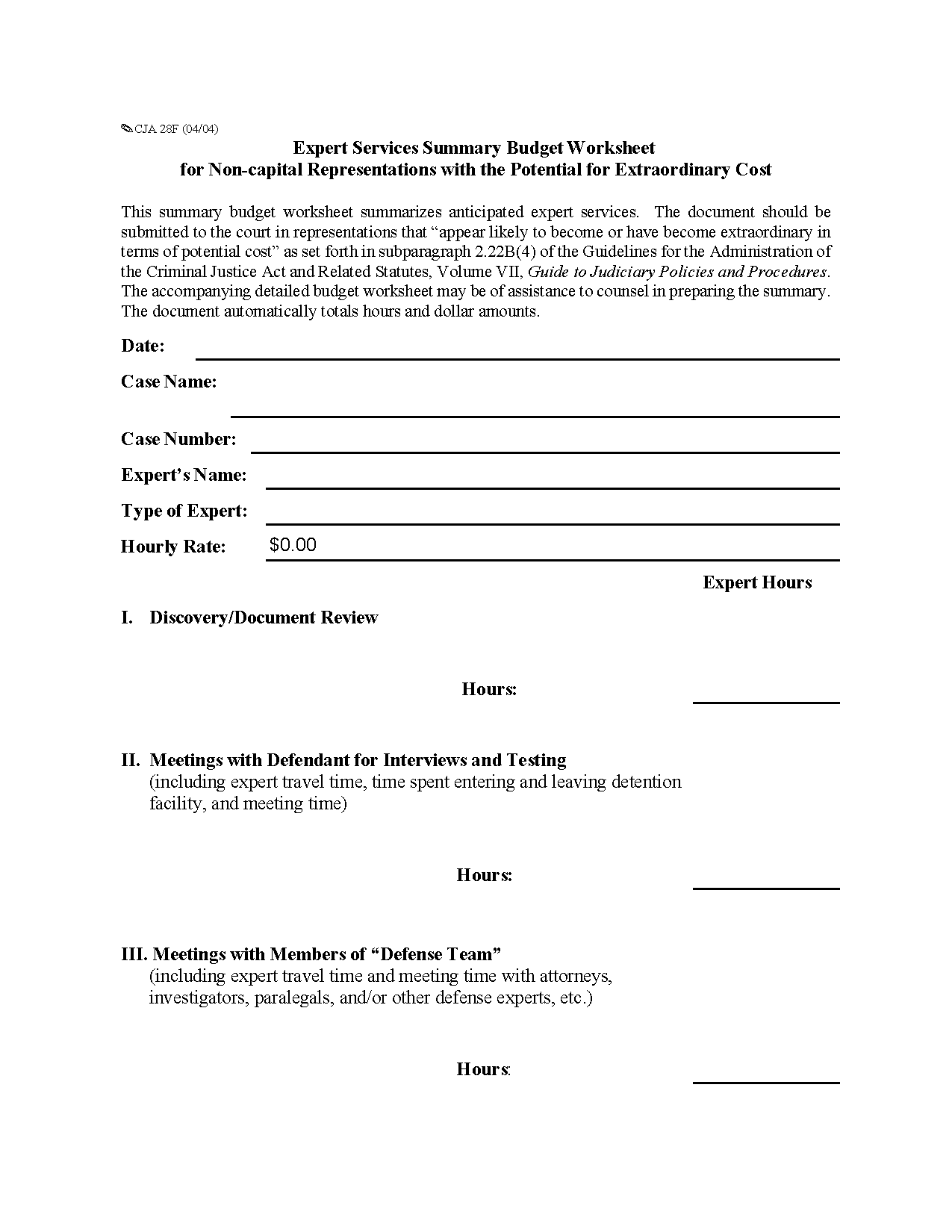 Form Cja F Expert Services Summary Budget Worksheet